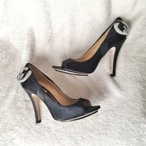 Badgley Mischka Black Satin Heels Silver Open Toe